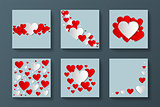 Collection of stylish cards with creative hearts. Happy valentines day. Abstract greeting backgrounds