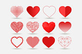 Collection of hearts icons in different styles - creative design. Happy Valentines Day vector set