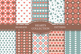 Collection of seamless patterns with hearts in retro colors. Vintage cute backgrounds