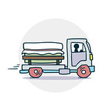 Truck delivers cargo icon