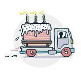Cake truck delivery sticker