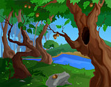 Cartoon summer background for a game art with old trees
