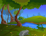 Cartoon autumn background for a game art