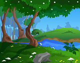 Cartoon spring background for a game art