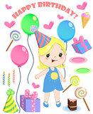 Set of vector birthday cartoon party elements and a cute girl.