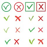 Tick and cross signs set. Green checkmark OK and red X icons, isolated on white background. Circle shape symbols YES and NO button for vote, decision, web. Vector illustration
