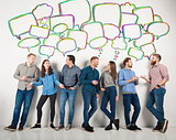 Group of boys and girls speak talking to each other. Concept of social people