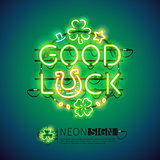 Good Luck Patricks Day Neon Sign