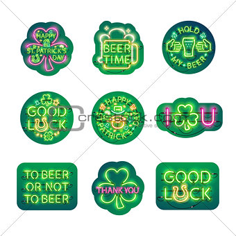Glowing Neon Patricks Signs Sticker Pack