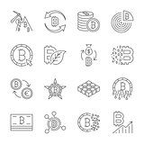 Icon set, bitcoin crypto innovation business. Editable Stroke