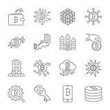 Vector Line Cryptocurrency Icons. Thin Outline Bitcoin Symbols.