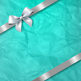 Mint Paper Texture Background With White Ribbon Bow