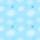 Seamless pattern with planes in the sky