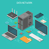 Data Network Isometric Concept