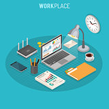Workplace Isometric Concept