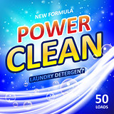 Power clean soap banner ads design. Washing Powder or Laundry detergent Package design. Vector illustration