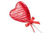 Red Chocolate love heart lollypop angled