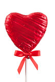 Red Chocolate love heart lollypop isolated