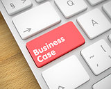 Business Case - Text on the Red Keyboard Keypad. 3D.