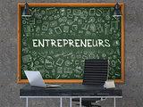 Entrepreneurs Concept. Doodle Icons on Chalkboard. 3d