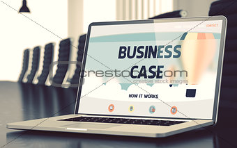 Business Case Concept on Laptop Screen. 3D.