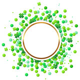 Round banner with green confetti and clover