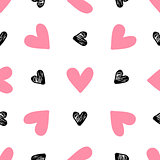 Pattern with pink and black hearts