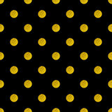 Pattern with golden glitter circles