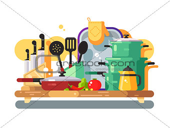 Kitchen utensils design flat
