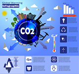 Global warming infographic vector