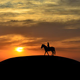 Horseback woman rider at sunset