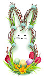 Easter bunny silhouette wreath of twig, green grass and flower. Easter eggs
