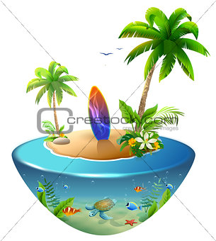 Surfboard on tropical island. Paradise beach of palm trees, sea, sun and sand