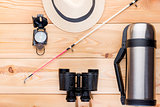 top view objects to search for fish and fishing on the wooden fl