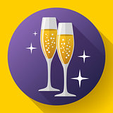 Two glasses of champagne Icon with sparkles.