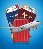 Business trip banner with Passport, tickets, airplane and suitcase on blue background. International Air travel concept. Business travel vector illustration.