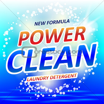 Clean Soap design product. Package design for laundry detergent or Washing Powder. Vector illustration