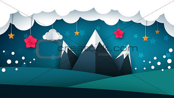 Cartoon paper landscape. Mountain, flower, cloud