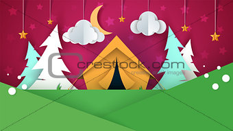 Cartoon paper landscape. Tent, Christmas tree, cloud, sky, star llustration.