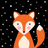 Cartoon flat illustration- funny, cute fox.