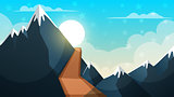 Cartoon landscape. Mountain, firr, cloud, sun illustration