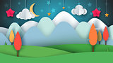 Cartoon paper landscape. Tree, flower, cloud, grass, moon, star.