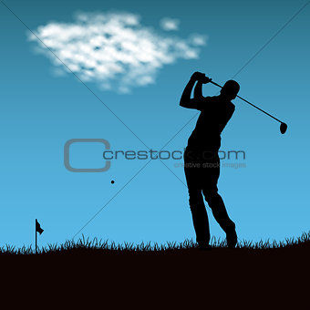 Silhouette of golf player after firing ball