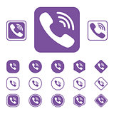 Set of Viber flat icon on a white background