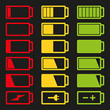 Battery flat icon set vector illustration isolated on gray background eps10