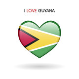 Love Guyana symbol. Flag Heart Glossy icon on a white background