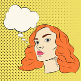 Pretty girl vector cartoon illustration in pop art style with speech bubble