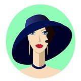 Portrait art deco woman in wide-brimmed hat