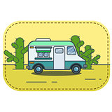 Cute retro food truck in desert illustration in flat cartoon vector style.