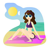 beautiful girl in bikini on a beach, vector illustration, travel and rest